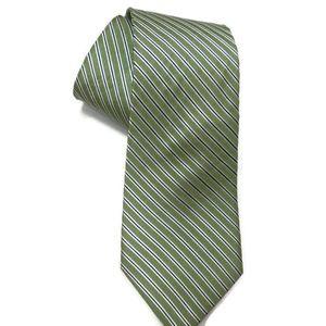 Nautical Men's Silk Green Striped Neck Tie